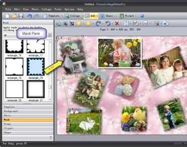 ... collage wallpaper, the mask, frame and clipart must be your choice, choose any one of these on the left window of collage and apply the mask, frame, ...