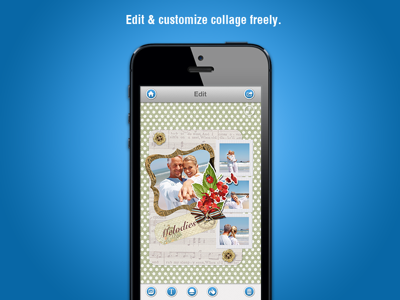 Organize photos in amazingly framed collages quickly and easily.