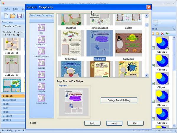 حصريا البرنامج المميز فى صناعة الصور والتعديل عليها Picture Collage Maker 2.0.6 Build 2103 فى اخر اصدارته Template-collage-wizard